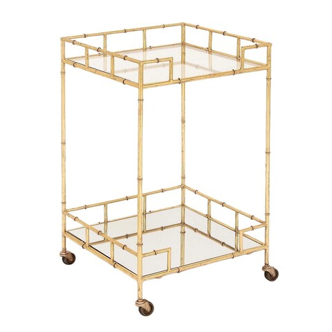 Urban Designs Gold Leaf Gold-tone Glass/Metal 2-shelf Square Mirror Mobile Bar Cart