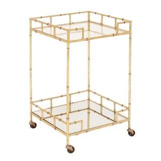 Modern Bamboo Rolling Bar Cart Free Shipping Today
