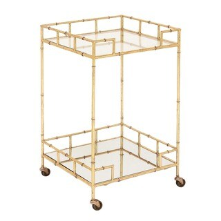 Urban Designs Gold Leaf Gold-tone Glass/Metal 2-shelf Square Mirror Mobile Bar Cart