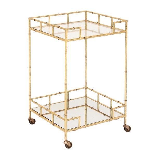 Shop urban designs gold leaf gold tone glass metal 2 shelf for Mobili bar cart