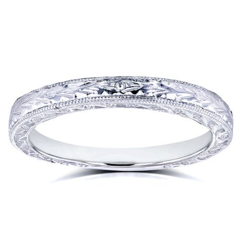 Annello by Kobelli 14k White Gold Antique Engravings Womens Wedding Band 2.5mm