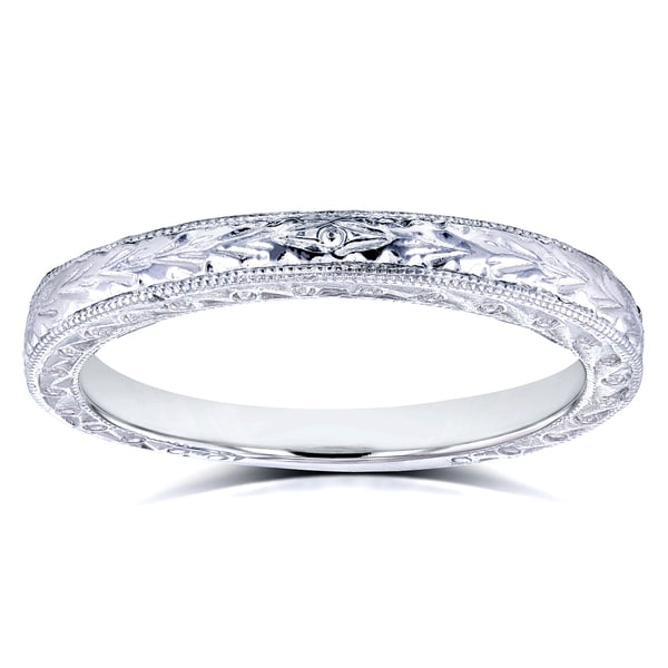 Annello by Kobelli 14k White Gold Antique Engravings Womens Wedding Band 2.5mm. Opens flyout.