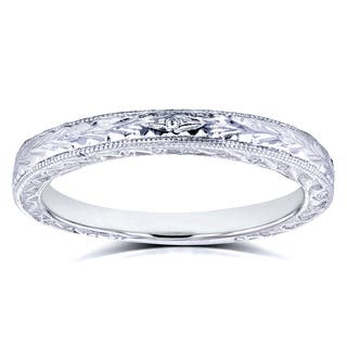 Annello By Kobelli 14k White Gold Antique Engravings Womens Wedding Band 2 5mm