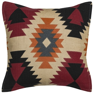 Rizzy Home Arden Loft Orange and Ivory Cotton Southwest Throw Pillow