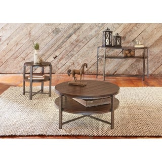 Breckinridge Mahogany Spice and Pewter Demi-lune Sofa Table