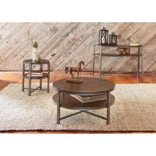 Breckinridge Mahogany Spice and Pewter Demi-lune Sofa Table