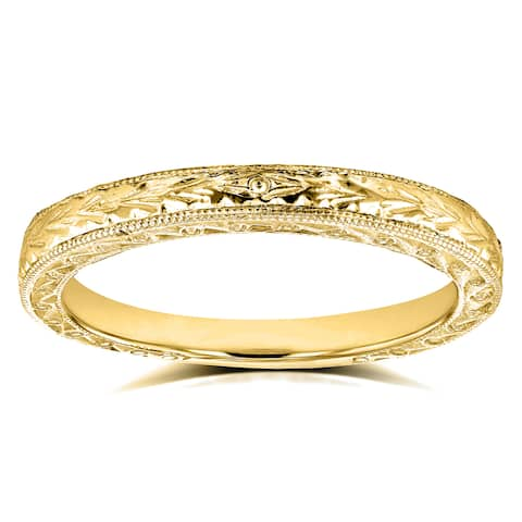 Annello by Kobelli 14k Yellow Gold Antique Engravings Womens Wedding Band 2.5 mm