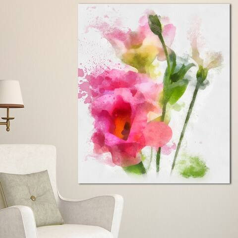 Designart 'Hand-drawn Pink Watercolor Flower' Floral Canvas Artwork Print