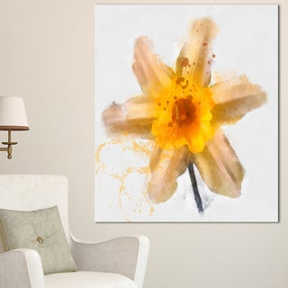 Designart 'Yellow Narcissus Sketch Watercolor' Extra Large Floral Canvas Art