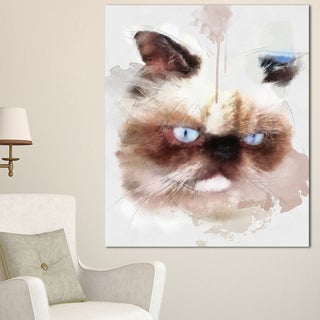 Designart 'Angry Brown Watercolor Cat Sketch' Modern Animal Canvas Wall Art