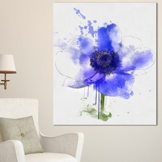 Designart 'Blue Anemone Sketch Watercolor' Extra Large Floral Canvas Art