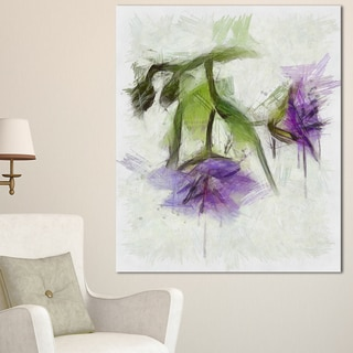 Designart 'Bunch of Blue Flowers Watercolor' Extra Large Floral Canvas Art