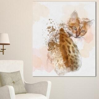 Designart 'Cute Cat Sketch with Brown Splashes' Modern Animal Canvas Wall Art