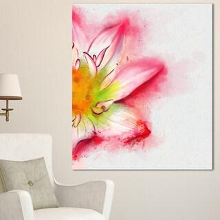 Designart 'Beautiful Pink Flower Painting' Large Floral Canvas Artwork