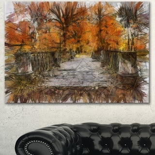 Designart 'Beautiful Watercolor Autumn Forest' Landscape Canvas Wall Art - Brown