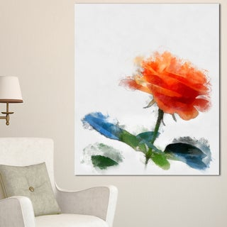 Designart 'Orange Rose Flower with Splashes' Large Floral Canvas Artwork