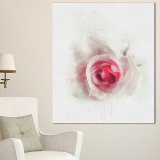 Designart 'White Rose with Pink Petals' Large Floral Canvas Artwork