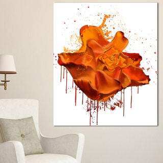 Designart 'Abstract Brown Rose with Splashes' Large Floral Canvas Artwork