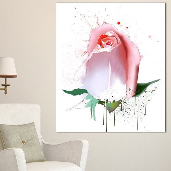 Designart 'Pink Rose with Paint Splashes' Large Floral Canvas Artwork