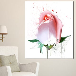 Designart 'Pink Rose with Paint Splashes' Large Floral Canvas Artwork - Pink (4 options available)