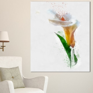 Designart 'Beautiful Flower with Paint Splashes' Large Floral Canvas Artwork
