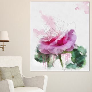 Designart 'Pink Rose Stem with Paint Splashes' Large Floral Canvas Artwork