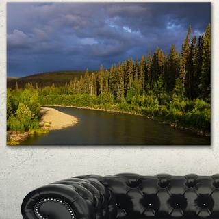 Designart 'Lake on Alaska under Clouds' Landscape Art Print Canvas