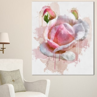 Designart 'Pink Rose Flower with Paint Splashes' Large Floral Canvas Artwork