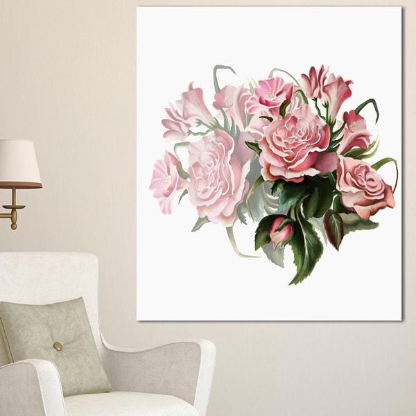 Shop Designart \'Pink Rose Bouquet Watercolor\' Modern Floral Canvas ...