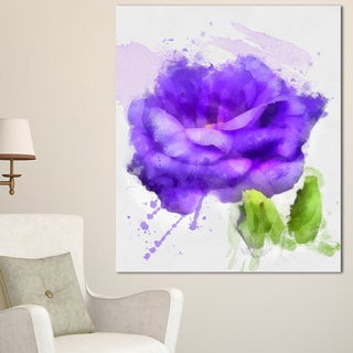 Designart 'Blue Rose Flower with Paint Splashes' Large Floral Canvas Artwork