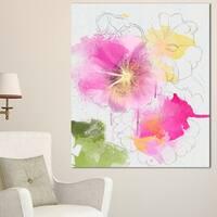 Designart 'Light Pink Flowers Watercolor' Modern Floral Canvas Wall Art