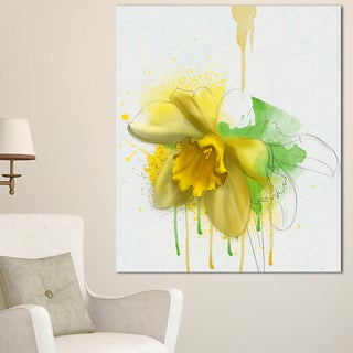 Designart 'Yellow Narcissus Flower Watercolor' Modern Floral Canvas Wall Art - YELLOW (4 options available)