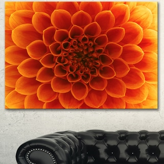 Designart 'Large Dark Yellow Flower and Petals' Modern Floral Canvas Wall Art