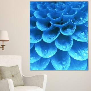 Designart 'Large Light Blue Flower and Petals' Modern Floral Canvas Wall Art