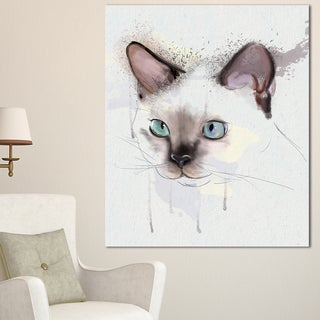 Designart 'Cute Hand-drawn Cat Watercolor' Modern Animal Canvas Wall Art