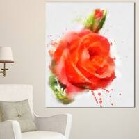 Designart 'Red Hand-drawn Rose Sketch' Modern Floral Canvas Wall Art - Red