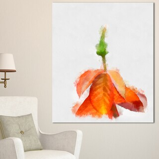 Designart 'Rose Flower Stem with Shed Petals' Large Floral Canvas Artwork