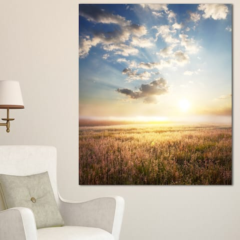 Designart 'Mountain Meadow under overcast Sky' Landscape Art Print Canvas - Brown