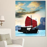 Designart 'Large Chinese Sailing Ship' Seashore Wall Art Print
