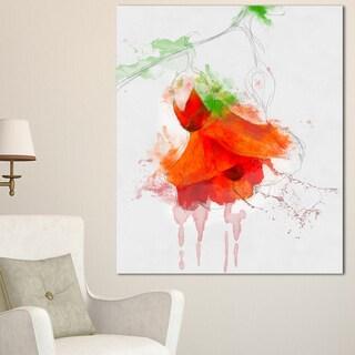 Designart 'Red Rose Watercolor Illustration' Modern Floral Canvas Wall Art