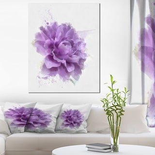 Designart 'Purple Rose Watercolor Illustration' Modern Floral Canvas Wall Art