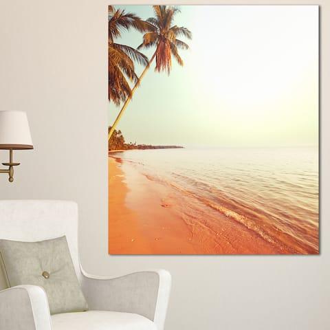 Designart 'Serene Beach with Huge Palm Trees' Beach Canvas Wall Art