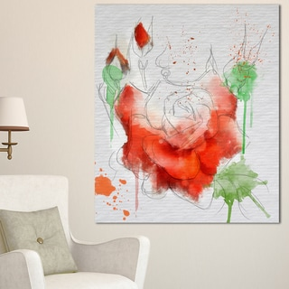 Designart 'Red Rose Illustration Watercolor' Modern Floral Canvas Wall Art