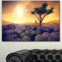 Designart 'Lavender Field with Solitary Tree' Extra Large Landscape Canvas Art - Purple