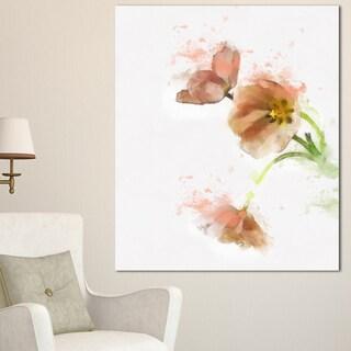 Designart 'Cute Tulips Illustration Watercolor' Modern Floral Canvas Wall Art - Brown