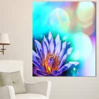 Designart 'Blossoming Purple Lotus Flower' Floral Canvas Art Print