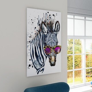Designart 'Funny Zebra Watercolor' Extra Large Animal Artwork