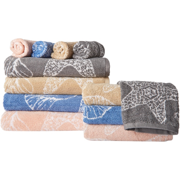 The Shore 6-Piece Jacquard Shell Towel Set