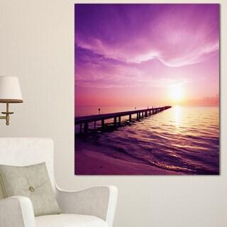 Designart 'Boardwalk in Purple Seashore' Seashore Canvas Art Print