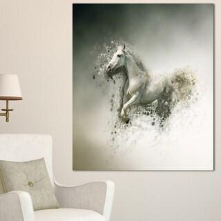 Designart 'Smart White Horse Running' Large Animal Art on Canvas